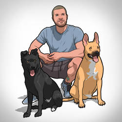 guy and his dogs by Pandaphobia