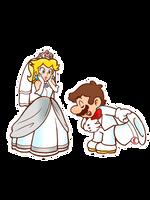 [!EDIT!] Mario and Peach in their wedding costume by TemmieSkyie