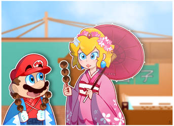 Mario and Peach in Kimono by TemmieSkyie