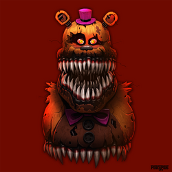 Nightmare Fredbear Bust by PinkyPills