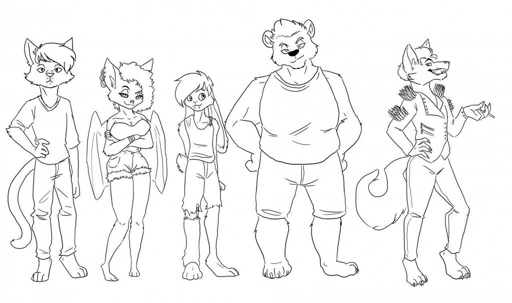 Blue Streaks: character line up by GalacticVegetable