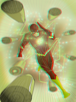 The Flash in 3D Anaglyph by xmancyclops