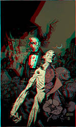 Dracula and the Frankenstein Monster in 3D by xmancyclops