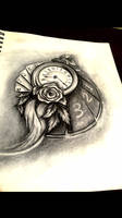 Tattoo design - Clock ,roses and cards by idontknowonee