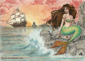 Sunset mermaid by Byrsa