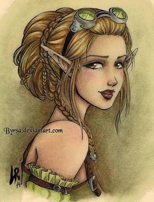 Steampunk elf by Byrsa