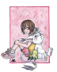 Kari and Tailmon by Byrsa