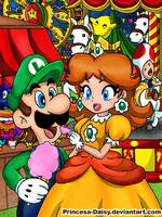 Luigi and Daisy - Night festival by Princesa-Daisy