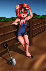 Farm pig girl by therick96