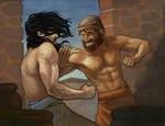 Gilgamesh vs Enkidu by DaMaupin