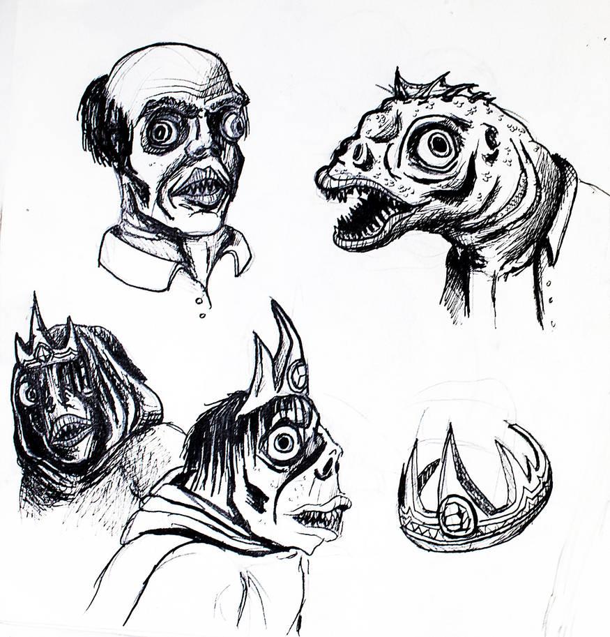 Deep ones doodeles by ElliugOmrot