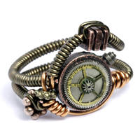 Steampunk Wire Ring Clock Gear by CatherinetteRings