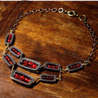red crackle steampunk choker by CatherinetteRings