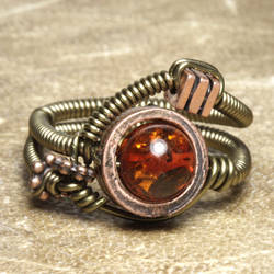Amber Steampunk Ring by CatherinetteRings