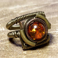 Amber Steampunk Ring 2 by CatherinetteRings