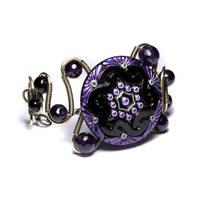 steampunk bracelet purple by CatherinetteRings