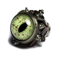 Reptile steampunk eye pin by CatherinetteRings