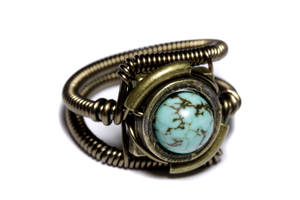 Steampunk ring Turquoise 2 by CatherinetteRings