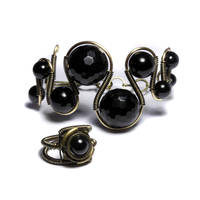 Steampunk Jewelry set Onyx by CatherinetteRings