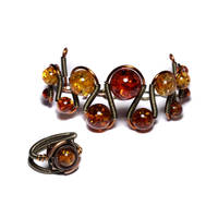 Steampunk jewelry Set Amber by CatherinetteRings