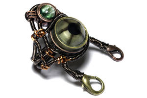 Steampunk Green Robot Eye Ring by CatherinetteRings