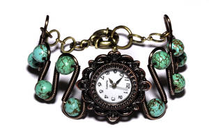 Steampunk Victorian Watch SpiderWeb Turquoise by CatherinetteRings
