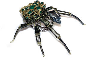 Ornate Steampunk Skull Emerald green Insect Robot by CatherinetteRings