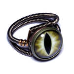 Steampunk Jewelry - Ring - Brown Dragon glass Eye by CatherinetteRings