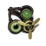 Green Airship Pirate Steampunk Ring by CatherinetteRings