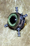 Steampunk Tie Tack with Green Eye by CatherinetteRings