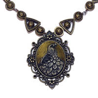 Steampunk Jewelry - Necklace - Gold Peacock by CatherinetteRings