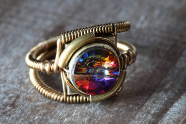 Steampunk Ring Volcano Crystal by CatherinetteRings