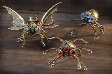 Steampunk Octopi Robot Sculptures by CatherinetteRings