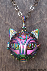 Glowing cat pendant with pink LED Light by CatherinetteRings