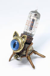 Steampunk Cat Sculpture with blue eye by CatherinetteRings