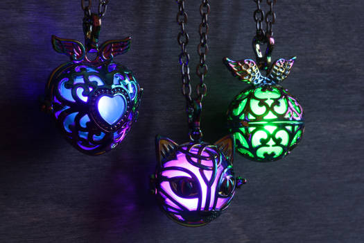 3 magical glowing necklaces by CatherinetteRings