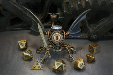 Bronze modron dice guardian by CatherinetteRings