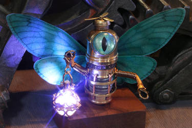 Robot Fairy with glowing lantern by CatherinetteRings