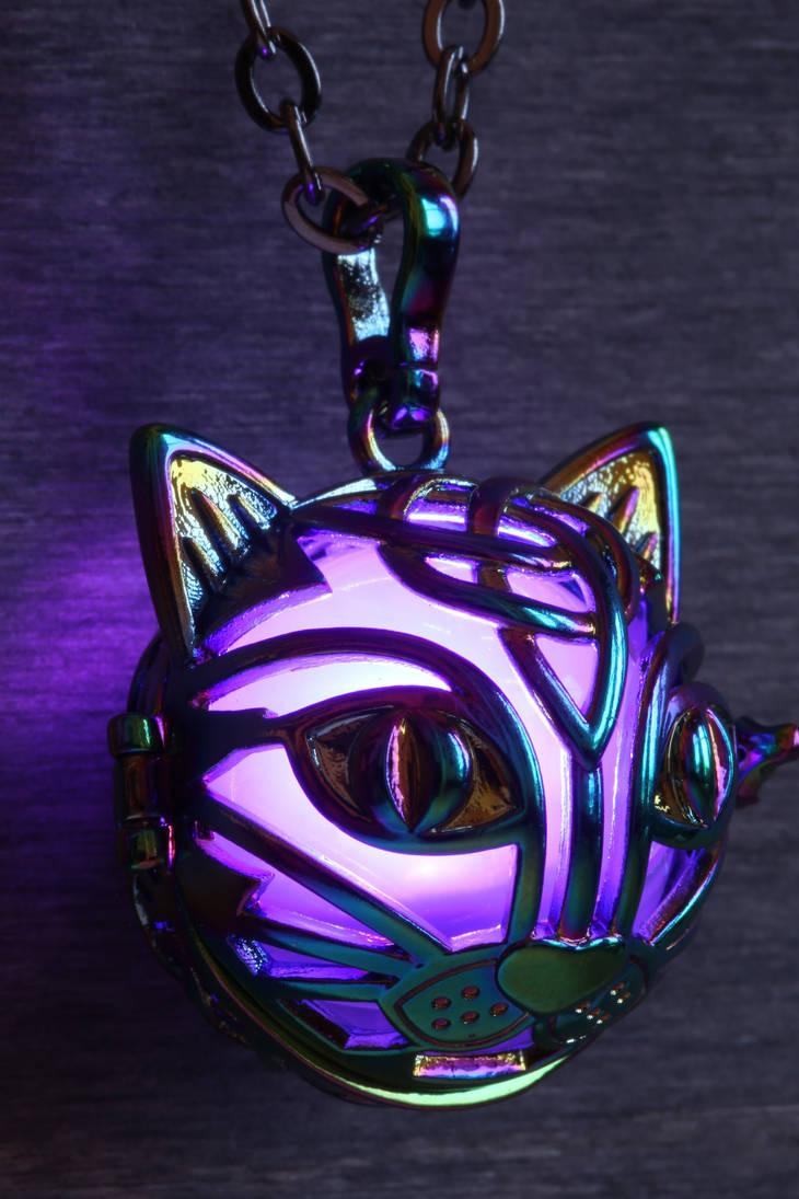 Purple cat glowing pendant by CatherinetteRings