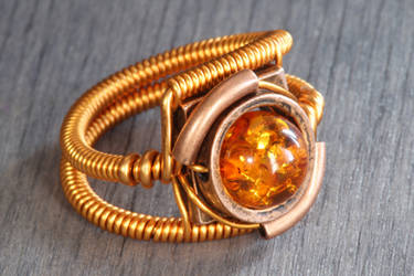 Steampunk copper amber ring by CatherinetteRings