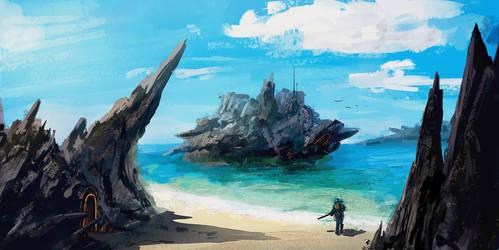 Hidden beach by NatMonney