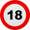 Traffic sign 18 age restriction (2) Icon big by linux-rules