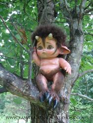 Baby Satyr Climbs a Tree by briescha