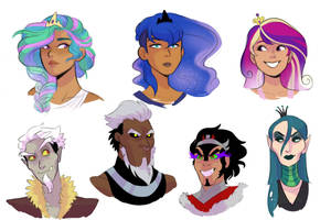Human!Princesses and Villains Headshots by kianamai