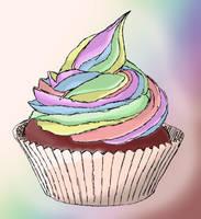 rainbow cupcake by camascat