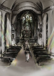 Monks in a Church by Amagi