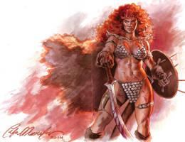 Red Sonja sketch cover by felipemassafera