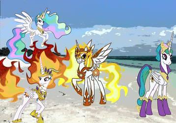 four Celestias on a beach by imyouknowwho