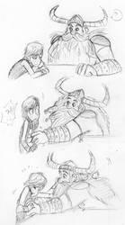 No, Dad! Vikings aren't ticklish!! by shadowpiratemonkey7