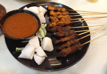 Beef and Chicken Satay by nosugarjustanger